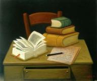 Naturaleza muerta con libros. F. Botero